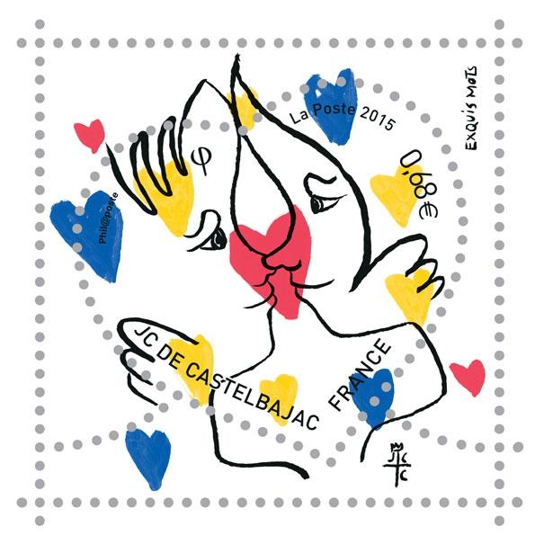 jean charles de castelbajac,jcdc,la poste,philatélistes,philatélie,timbres,timbre,fête,marketing,saint valentin,amour,lettre,passion,déclaration d'amour,2015,collection,collector,love,stamps,luxe,luxury,mode,france,french,art de vivre,savoir vivre,savoir faire,fashion,collaboration,création,édition limitée,art,dessin,illustration