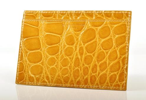 Portefeuille plat crocodile jaune brillant.jpg