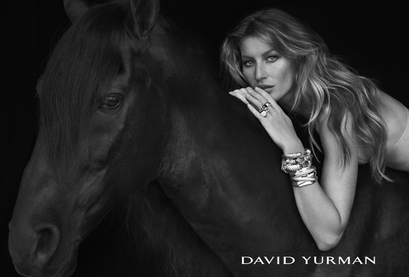 fashion photographer,photography,ad,advertisement,publicité,campagne publicitaire,david yurman,joaillier,joaillerie,jewellery,jewelry,gisele bundchen,peter lindbergh,black and white,noir et blanc,sexy,horse,jewels,bijoux,fall,winter,automne,hiver,2012