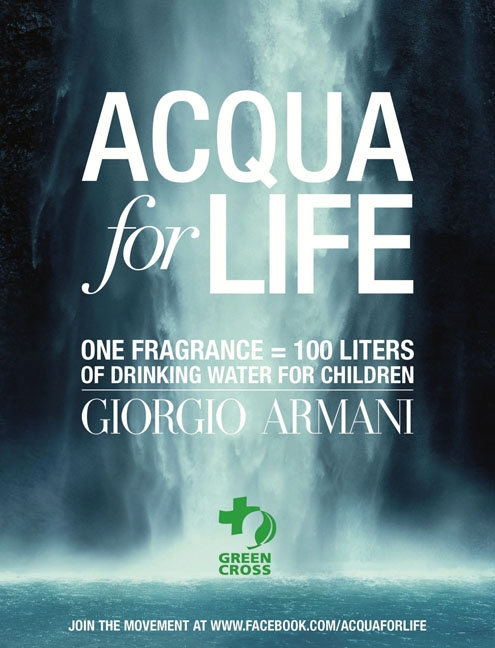 acqua for life,giorgio armani,acqua di gio,acqua di gioa,opération,humanitaire,care,water,green cross international