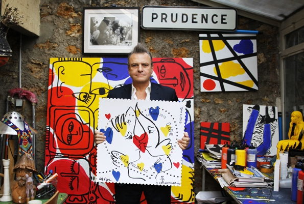 jean charles de castelbajac,jcdc,la poste,philatélistes,philatélie,timbres,timbre,fête,marketing,saint valentin,amour,lettre,passion,déclaration d'amour,2015,collection,collector,love,stamps,luxe,luxury,mode,france,french,art de vivre,savoir vivre,savoir faire,fashion,collaboration,création,édition limitée,art,dessin,illustration
